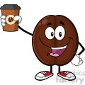 illustration cute coffee bean cartoon mascot character holding up a coffee cup vector illustration isolated on white