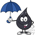 royalty free rf clipart illustration petroleum or oil drop cartoon character under an umbrella protection vector illustration isolated on white background