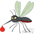 royalty free rf clipart illustration mosquito cartoon character flying with blood drop vector illustration isolated on white