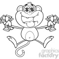 royalty free rf clipart illustration black and white greedy monkey cartoon character jumping with cash money and dollar eyes vector illustration isolated on white