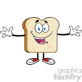 royalty free rf clipart illustration happy bread slice cartoon character with open arms vector illustration isolated on white backgrond