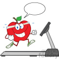 royalty free rf clipart illustration healthy red apple cartoon character running on a treadmill with speech bubble vector illustration isolated on white gif, png, jpg, eps, svg, pdf