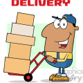 royalty free rf clipart illustration african american delivery man cartoon character using a dolly to move boxes vector illustration with text isolated on white