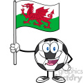 happy soccer ball cartoon mascot character holding a flag of wales vector illustration isolated on white background