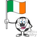happy soccer ball cartoon mascot character holding a flag of the republic of ireland vector illustration isolated on white background gif, png, jpg, eps, svg, pdf