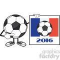pointing soccer ball cartoon mascot character pointing to a sign with france flag and 2016 year vector illustration isolated on white background