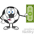 cute soccer ball cartoon mascot character holding cash money vector illustration isolated on white background