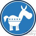 democrat donkey blue circle label vector illustration flat design style isolated on white  gif, png, jpg, eps, svg, pdf