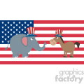 angry political elephant republican vs donkey democrat over usa flag vector illustration flat design style