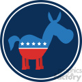 9339 funny democrat donkey cartoon blue circale label vector illustration flat design style isolated on white