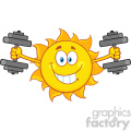 smiling sun cartoon mascot character working out with dumbbells vector illustration isolated on white background