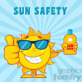 smiling summer sun cartoon mascot character holding a bottle of sun block cream vector illustration with blue sunburst background and text sun safety