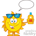 cute sun cartoon mascot character with sunglasses holding a bottle of sun block cream vith text vector illustration isolated on white background with speech bubble