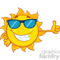 smiling sun cartoon mascot character with sunglasses giving a thumbs up vector illustration isolated on white background