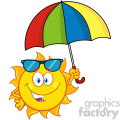 cute sun cartoon mascot character holding a umbrella vector illustration isolated on white background