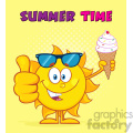 cute sun cartoon mascot character with sunglasses holding a ice cream showing thumb up vector illustration with yellow sunburst background and text summer time