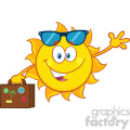 10209 smiling summer sun cartoon mascot character with sunglasses carrying luggage and waving vector illustration isolated on white background