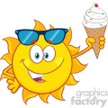 cute sun cartoon mascot character with sunglasses holding a ice cream vector illustration isolated on white background