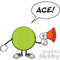 tennis ball faceless cartoon mascot character an announcement into a megaphone with speech bubble and text ace vector illustration isolated on white background gif, png, jpg, eps, svg, pdf