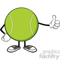 tennis ball faceless cartoon mascot character giving a thumb up vector illustration isolated on white background