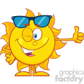 10144 smiling sun cartoon mascot character with sunglasses giving the thumbs up vector illustration isolated on white background