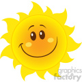 smiling yellow simple sun cartoon mascot character with gradient vector illustration isolated on white background
