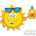 cute sun cartoon mascot character with sunglasses holding a bottle of sun block cream vith text vector illustration isolated on white background