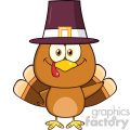 cute pilgrim turkey bird cartoon character waving vector illustration isolated on white