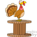 happy turkey bird cartoon character on a giant spool vector illustration isolated on white