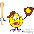 happy softball girl cartoon character holding a bat and glove with ball vector illustration isolated on white background gif, png, jpg, eps, svg, pdf