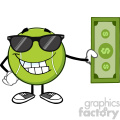 smiling tennis ball cartoon mascot character with sunglasses holding a dollar bill vector illustration isolated on white gif, png, jpg, eps, svg, pdf