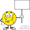 funny softball cartoon mascot character holding a blank sign vector illustration isolated on white background