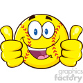 happy softball cartoon character giving a double thumbs up vector illustration isolated on white background