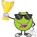 happy tennis ball cartoon character with sunglasses holding a trophy cup vector illustration isolated on white