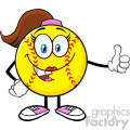 smiling softball girl cartoon mascot character giving a thumb up vector illustration isolated on white background gif, png, jpg, eps, svg, pdf