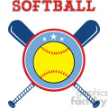 9610 yellow softball over crossed bats logo design label vector illustration isolated on white background with text gif, png, jpg, eps, svg, pdf