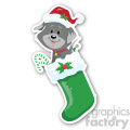 christmas dog in stocking sticker