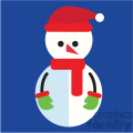 snowman with green mittens on blue square icon vector art