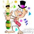baby new year with a bottle of champagne vector art
