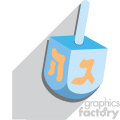 hanukkah Hebrew dreidel flat vector art with shadow