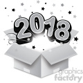 gray 2018 new year exploding from a box vector art  gif, png, jpg, eps, svg, pdf