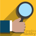 hand holding a magnifying glass flat design vector art on yellow background  gif, png, jpg, eps, svg, pdf