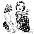 vintage woman holding bag of groceries vintage 1900 vector art GF