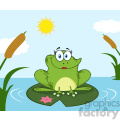 10670 Royalty Free RF Clipart Smiling Frog Female Cartoon Mascot Character Perched On A Pond Lily Pad In Lake Vector With Background