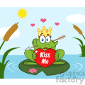 10676 royalty free clipart cute princess frog cartoon mascot character with crown and arrow holding a love heart with text kiss me perched on a pond lily pad in lake gif, png, jpg, eps, svg, pdf
