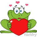 10663 Royalty Free RF Clipart Smiling Frog Female Cartoon Mascot Character Holding A Valentine Love Heart Vector Illustration