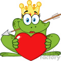 10659 royalty free rf clipart cute princess frog cartoon mascot character with crown and arrow holding a love heart vector illustration gif, png, jpg, eps, svg, pdf