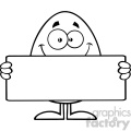 10935 Royalty Free RF Clipart Black And White Cute Egg Cartoon Mascot Character Holding A Blank Sign Vector Illustration