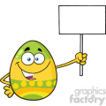 10978 royalty free rf clipart colored easter egg cartoon mascot character holding a blank sign vector illustration gif, png, jpg, eps, svg, pdf