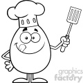 10925 royalty free rf clipart black and white chef egg cartoon mascot character licking his lips and holding a spatula vector illustration gif, png, jpg, eps, svg, pdf